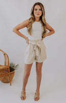 Cheery Disposition Checkered Shorts - Cream