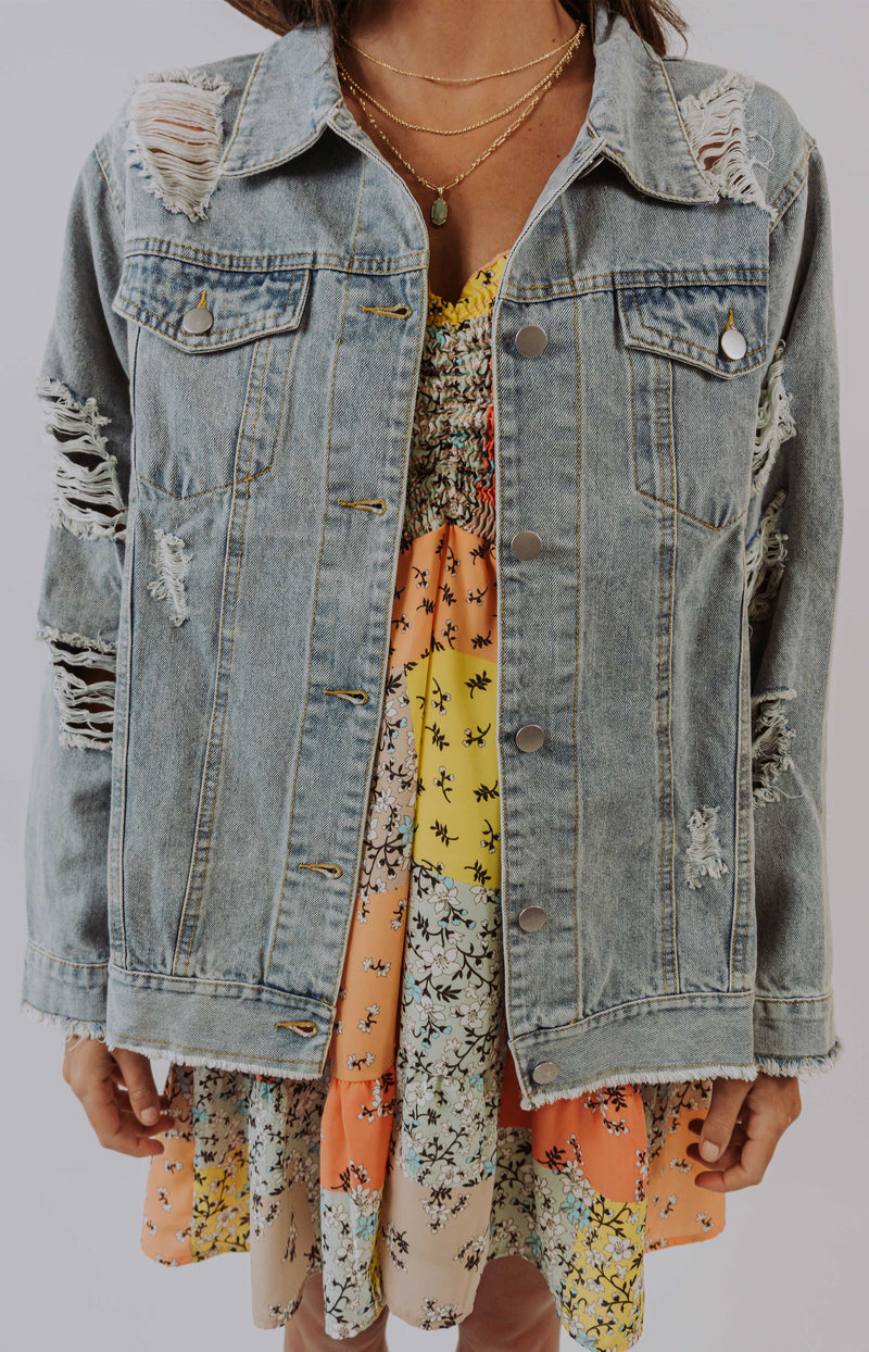 Night After Night Cropped Distressed Denim Jacket
