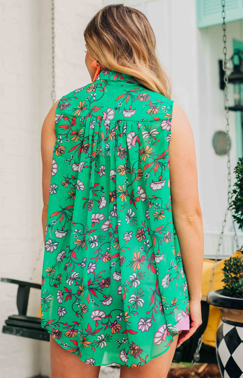 August Apparel: Colorful Life Floral Print Sleeveless Button-Up Top - Green