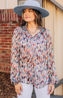 Going Abroad Multi Leaf Print Long Sleeve Top