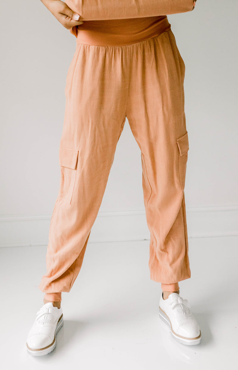 Endless Rose: Stepping Out Pleated Wide-Leg Pants - Terracotta