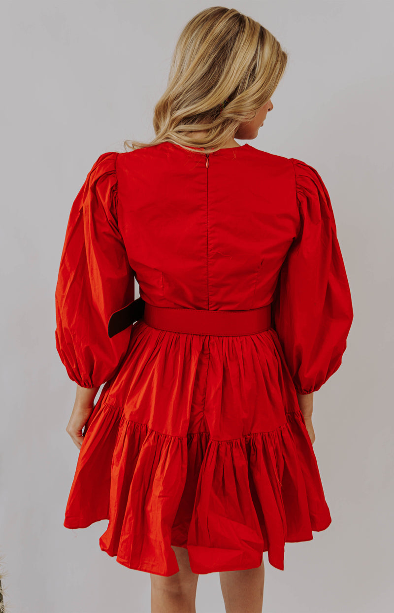 Fooling Around Ruffled Mini Dress - Red