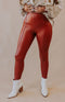Lyssé: Get Ahead High Waisted Denim Leggings - Red