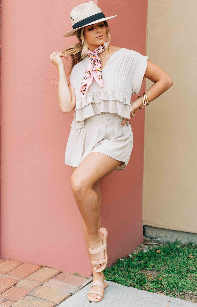 One Wish Set - Flowy Short Sleeve Crop Top - Taupe