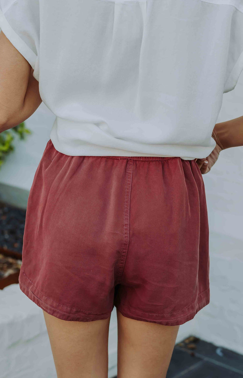 First Things First Drawstring Shorts - Berry