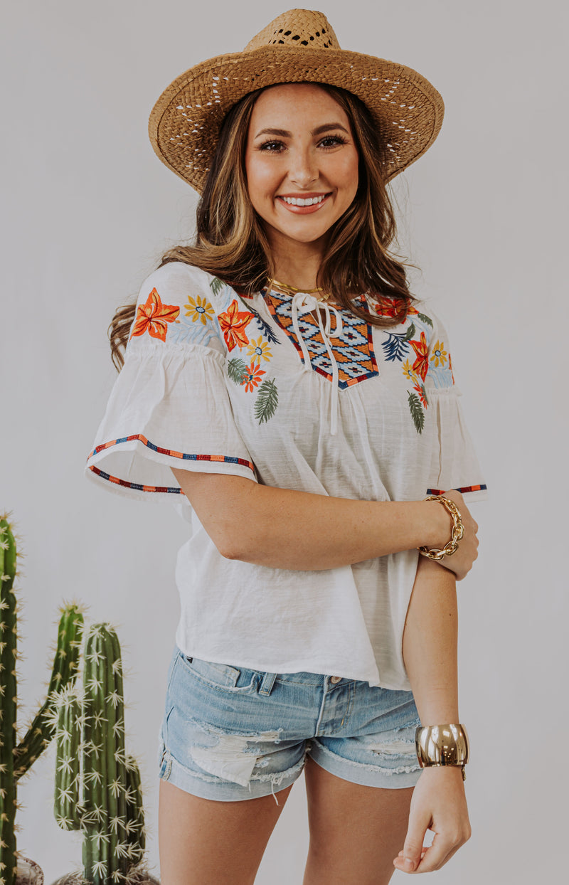 Nuevo Embroidered Flutter Sleeve Top