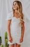 August Apparel: Get Noticed Ruched Puff Sleeve Mini Dress - White