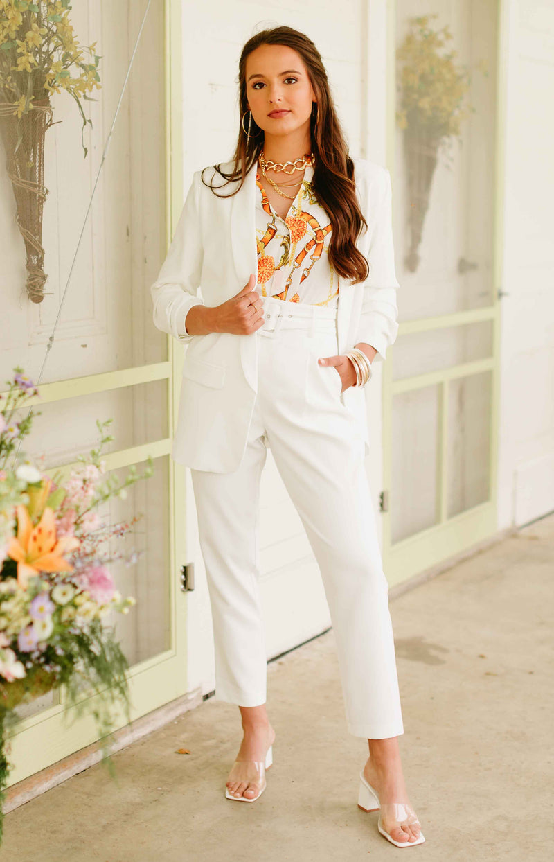 Fine Day Belted Tapered Trouser Pants - White