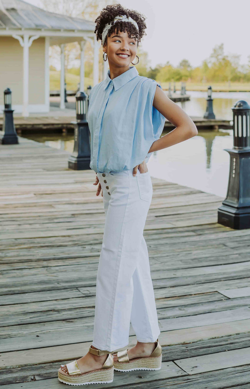 In the Know Cropped Wide-Leg Jeans - White