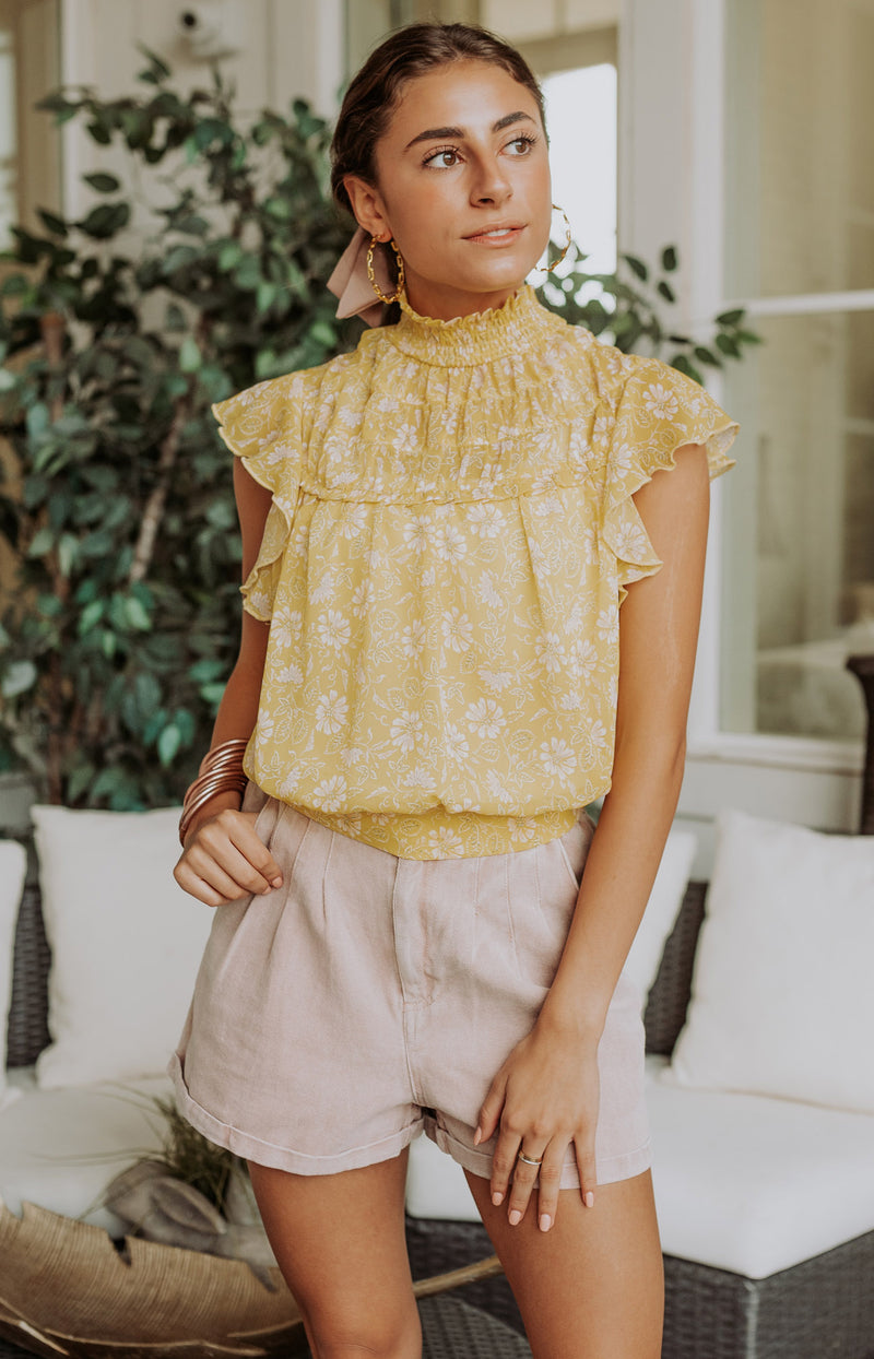 Get Growing Floral Print Wrap Top - Yellow