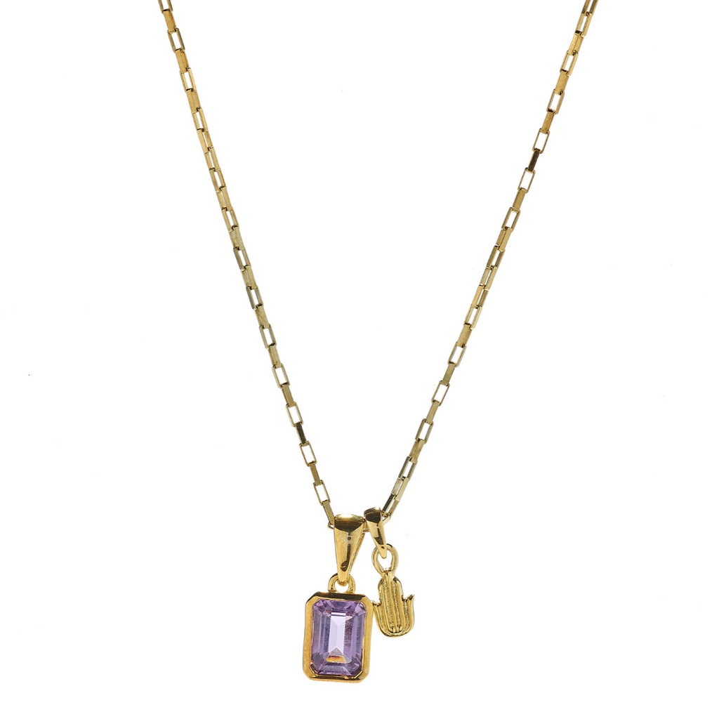 Hope Amethyst & Hamsa Gold Necklace
