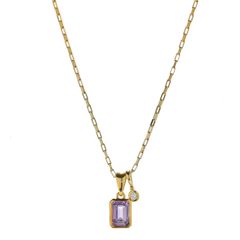 Hope Amethyst & White Topaz Gold Necklace
