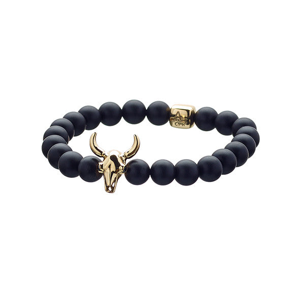 ALEXANDER LYNGGAARD CPH - Lluks Bull Skull in 18K Gold & Black Diamonds with Black Onyx Matte (8mm)