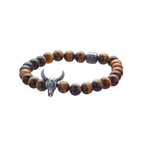 Lluks Bull Skull Tiger Eye (8mm)
