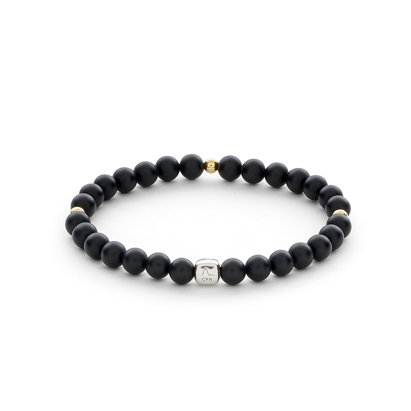 ColorUp Onyx Matte & Gold Plated Beads (6mm) - ALEXANDER LYNGGAARD CPH