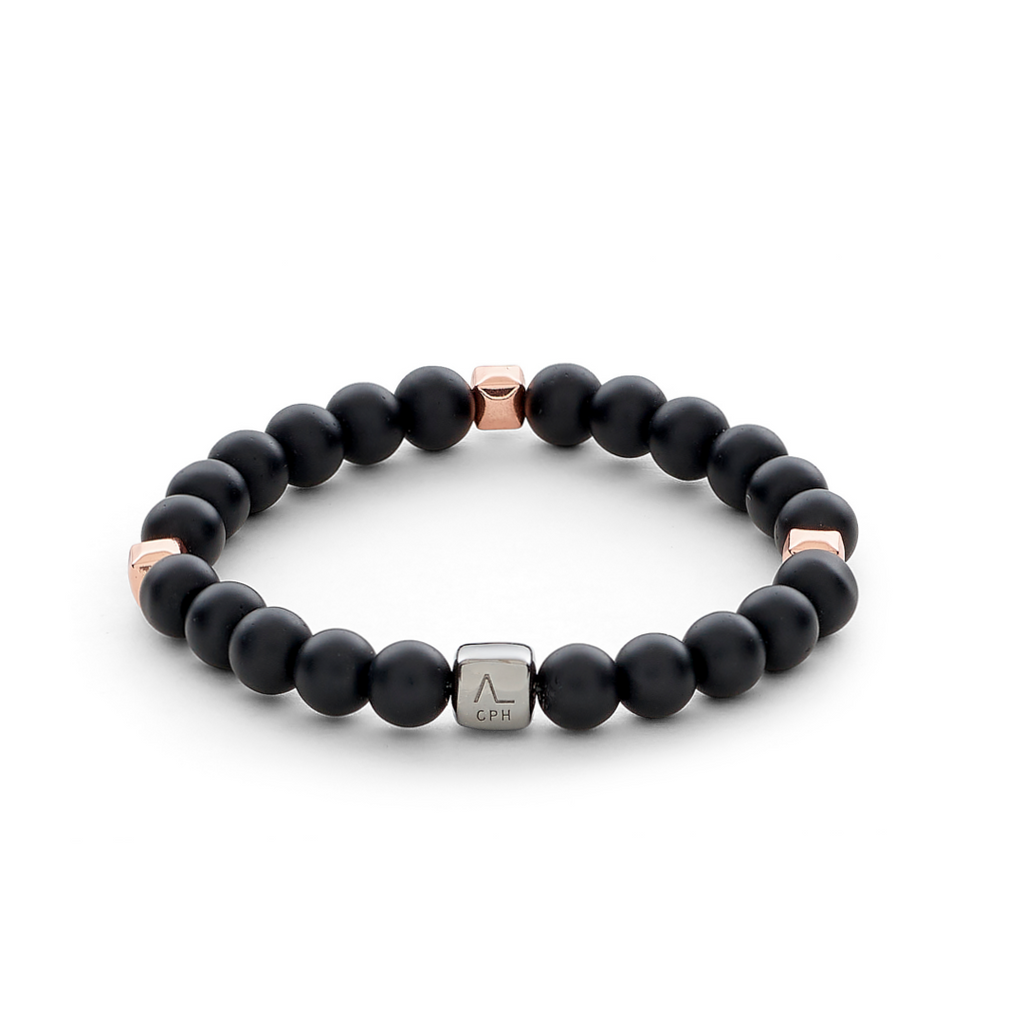 ColorUp Onyx Matte & Rose Gold Plated Cubes (8mm) - ALEXANDER LYNGGAARD CPH