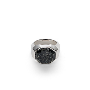 Hope Signet Ring Facet Lava Stone