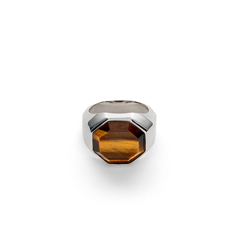Hope Signet Ring Facet Tiger Eye - ALEXANDER LYNGGAARD CPH