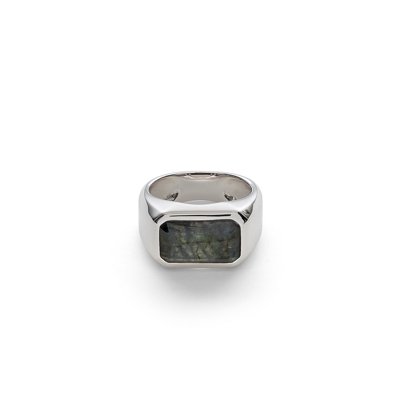 Hope Signet Ring Rectangle Labradorite