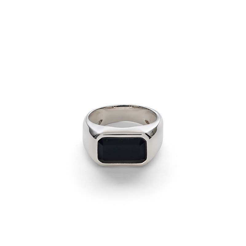 Hope Signet Ring Rectangle Onyx Matte
