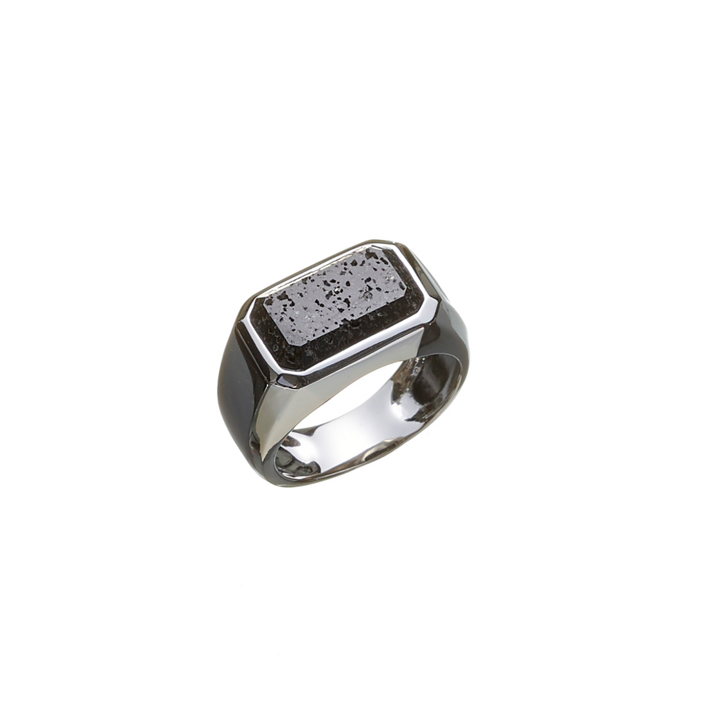Hope Signet Ring Rectangle Lava Rock