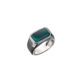 Hope Signet Ring Rectangle Malachite