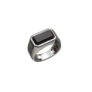 Hope Signet Ring Rectangle Onyx Matte - ALEXANDER LYNGGAARD CPH