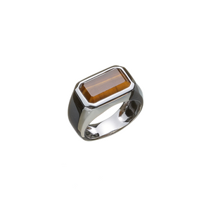 Hope Signet Ring Rectangle Tiger Eye - ALEXANDER LYNGGAARD CPH