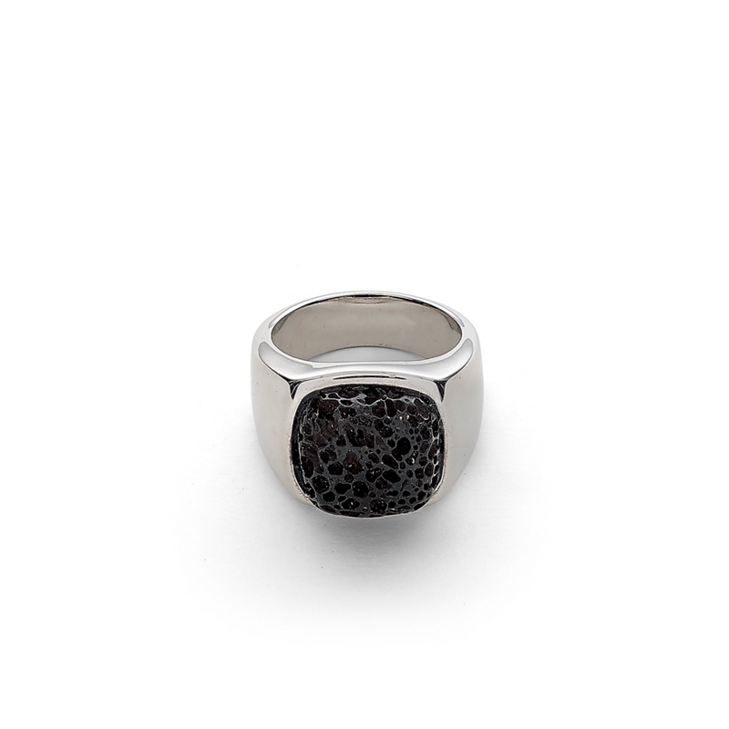 Hope Signet Ring with Lava Stone