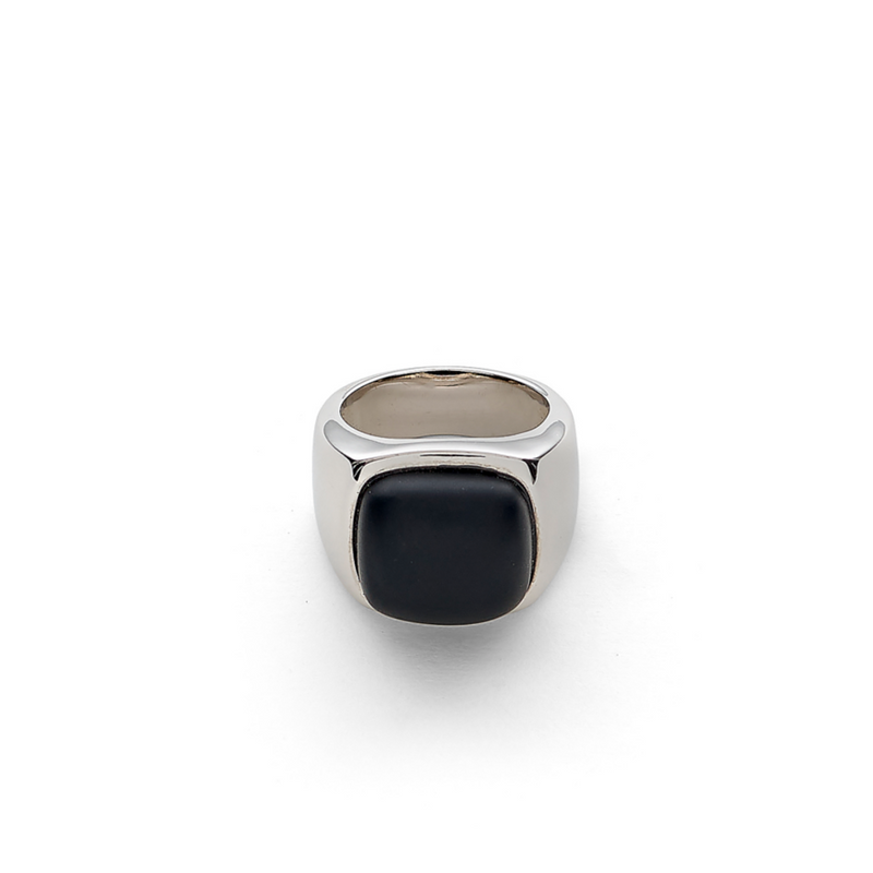 Hope Signet Ring with Black Onyx Matte