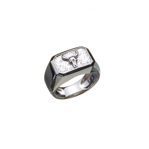 Lluks Signet Ring Rectangle with Bull Skull - ALEXANDER LYNGGAARD CPH
