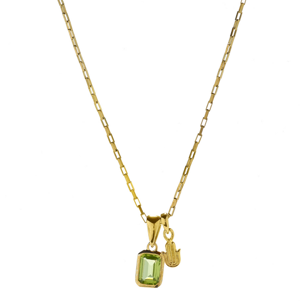 Hope Peridot & Hamsa Gold Necklace