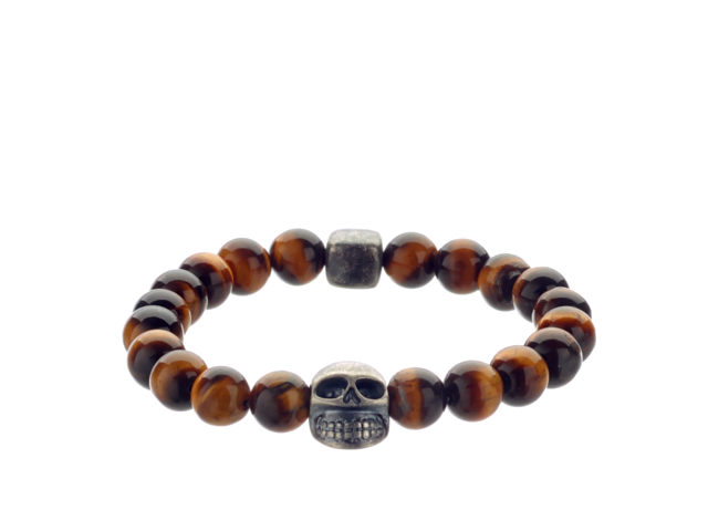 Lluks Skull with Tiger Eye (8mm) - ALEXANDER LYNGGAARD CPH