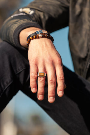 Hope Signet Ring Rectangle Tiger Eye