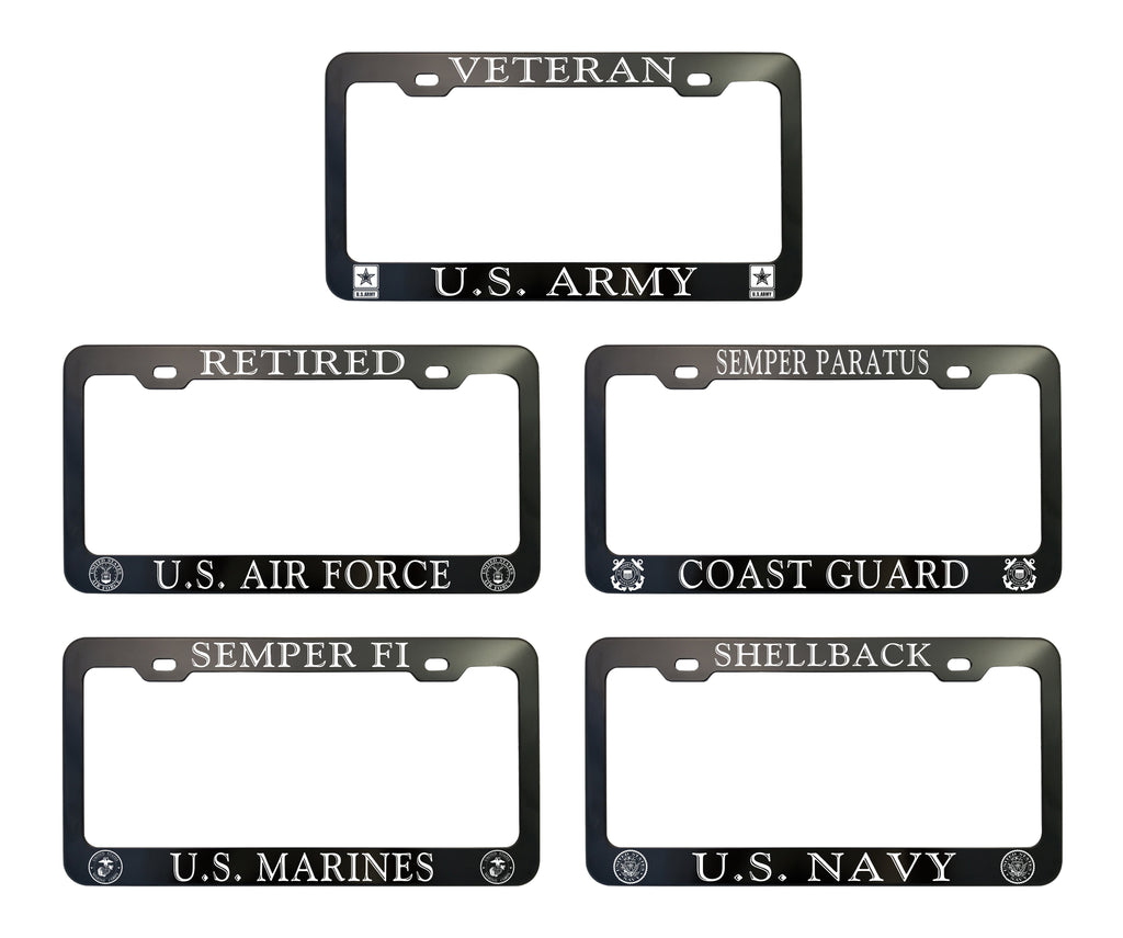 U.S ARMY BLACK USA Air Force License Plate Frame Aluminum Metal Tag Cover