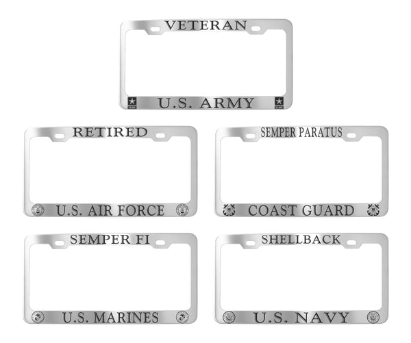 Military License Plate Frames - Stainless Steel