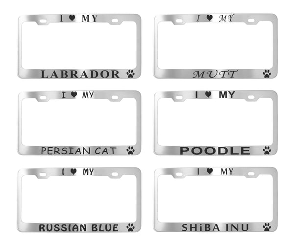 Pet License Plate Frames - Stainless Steel