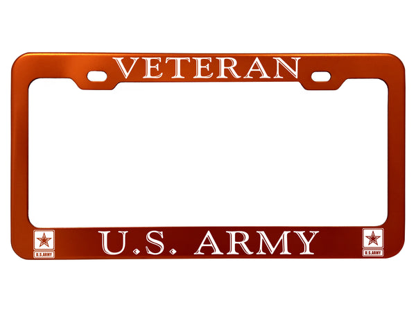 Military License Plate Frames - Anodized Aluminum