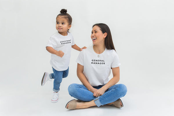'general manager' women's tee, 'assistant manager' toddler tee