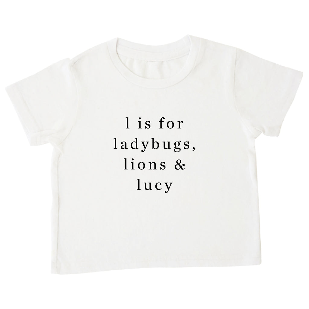 Example tee: 'l is for ladybugs, lions & lucy'