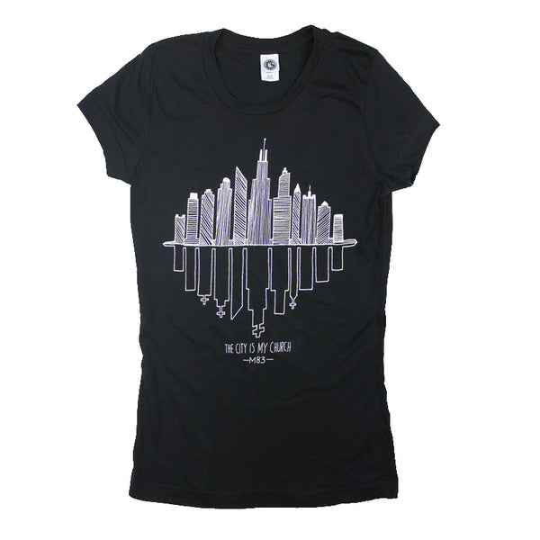 CITY IS MY CHURCH GIRLS BLACK T-SHIRT