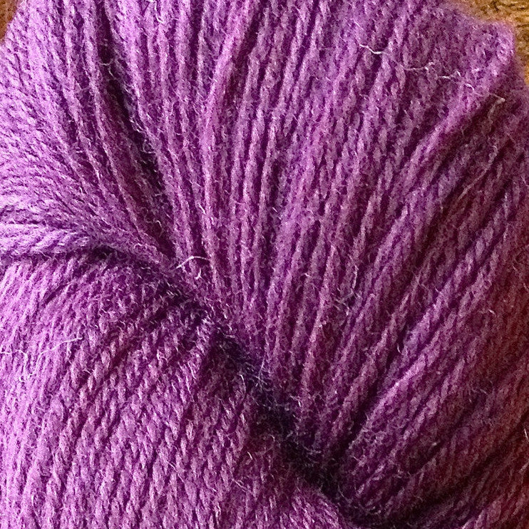"""Horse feathers"" is a deep purple toned superwash sock yarn. The hand dyed yarn is aflutter with purple tones. Enjoy creating something crazy or sane with this deep violet yarn."