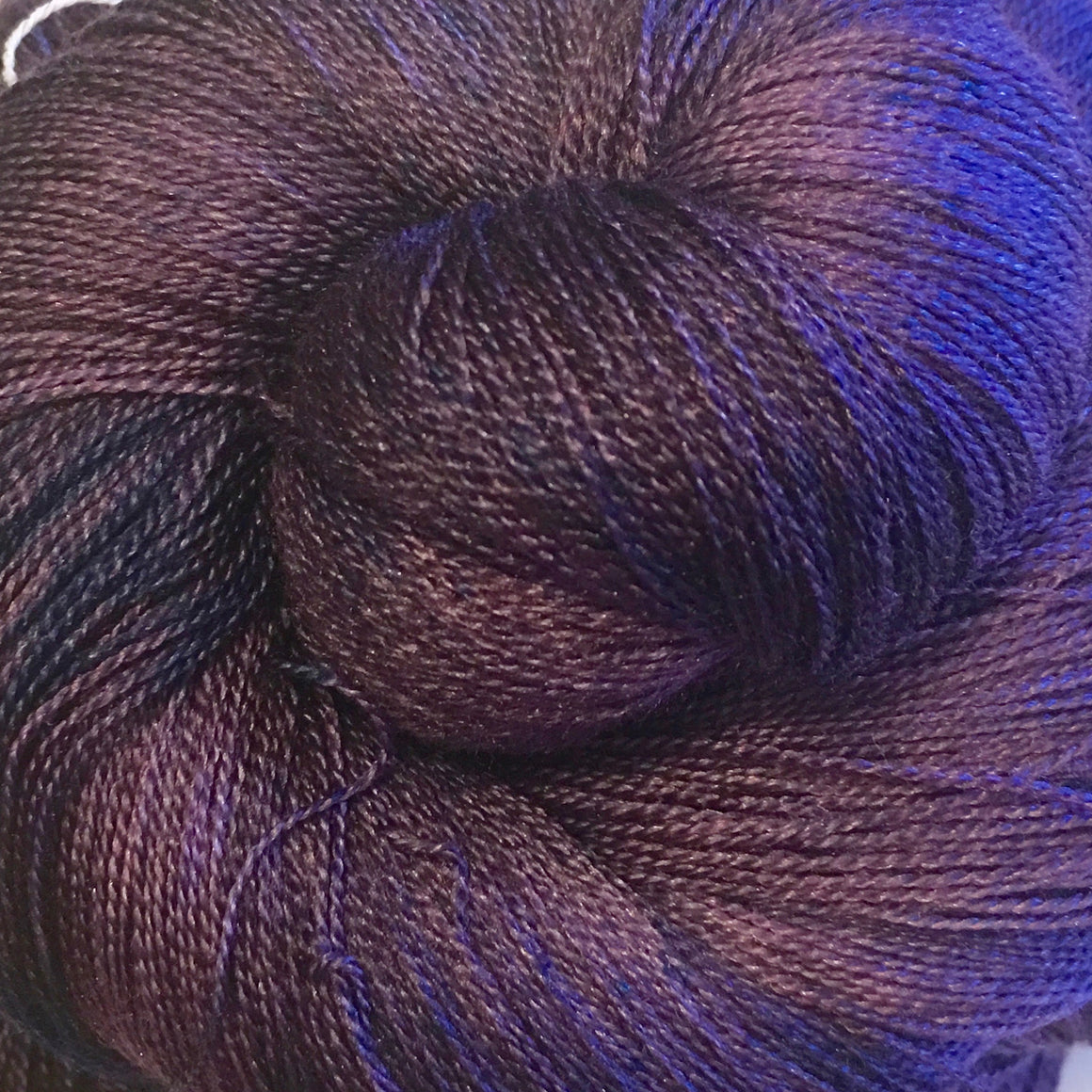 """My Precious"" deep purple super wash merino and silk lace weight yarn"
