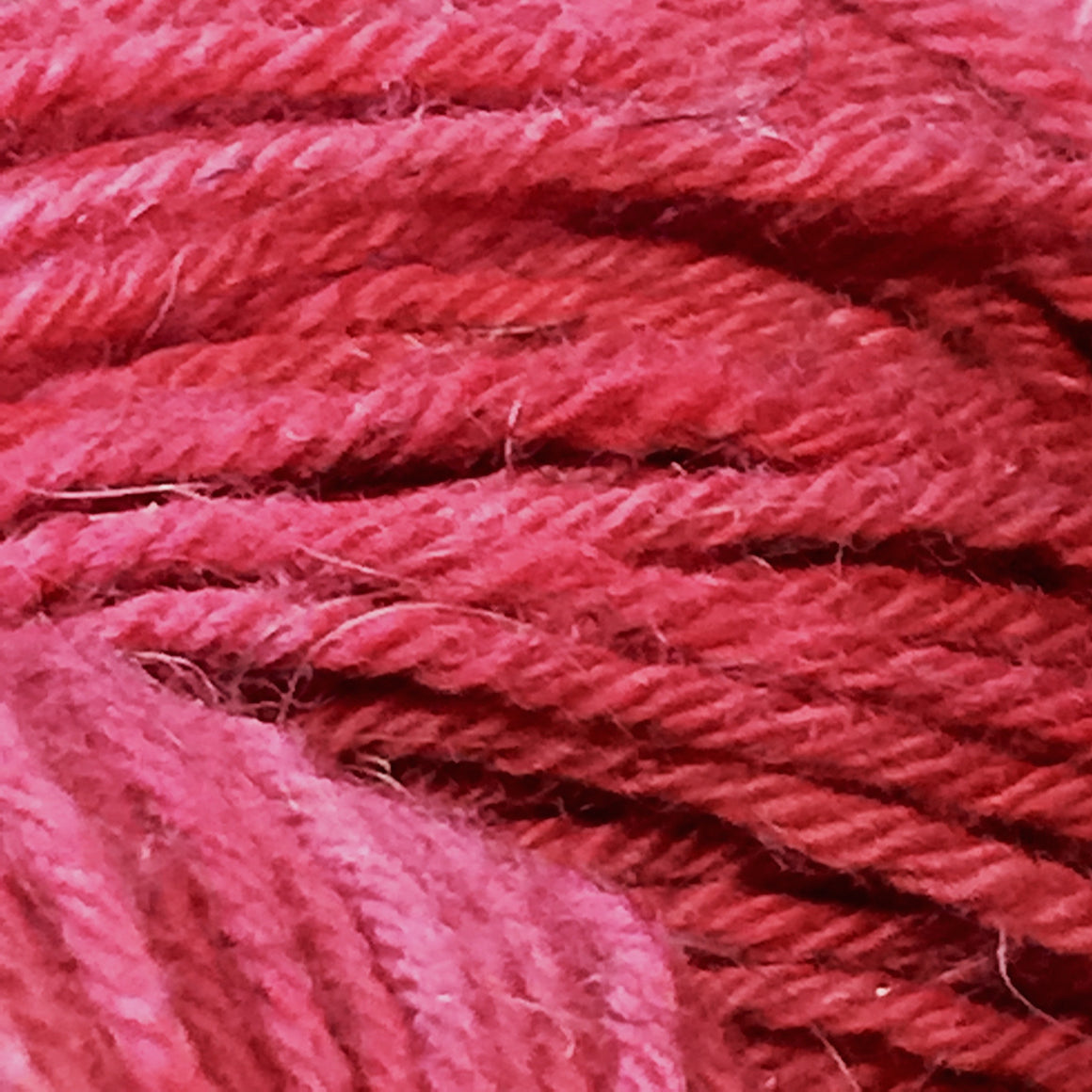 """Girl on Fire"" is red tonal fingering weight bison blend yarn"
