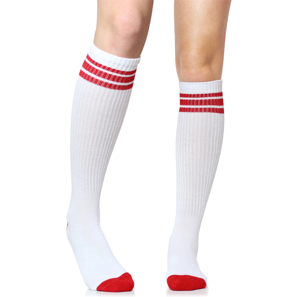 White with Red Stripe Tube Socks (Adult)