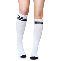 White with Black Stripe Tube Socks (Adult)