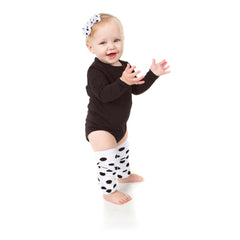 White with Black Polka Dots Leg Warmers