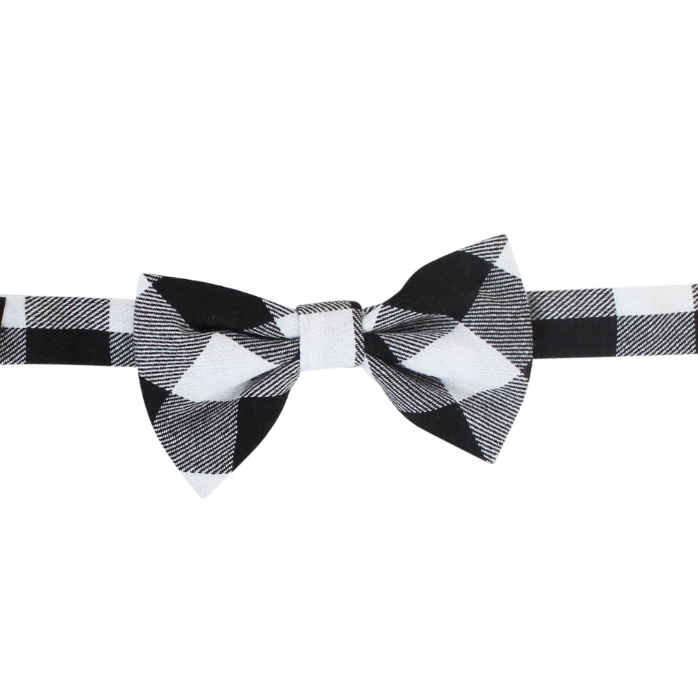 Black and White Buffalo Plaid Bow Tie