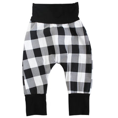Black and White Buffalo Plaid Harem Pants