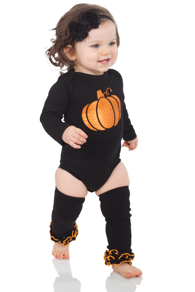 Black & Orange Triple Ruffle Leg Warmers